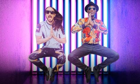 "Steve Aoki e Aloe Blacc na capa do single ""My Way"" (Reprodução)"