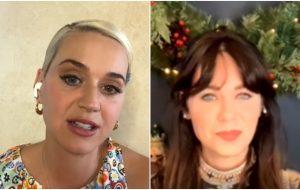 Em live com Zooey Deschanel, Katy Perry confessa já ter fingido ser a atriz para entrar em festas