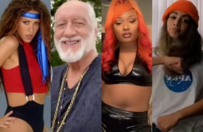 Shakira, Mick Fleetwood, Megan Thee Stallion e Anitta no TikTok (Reprodução)