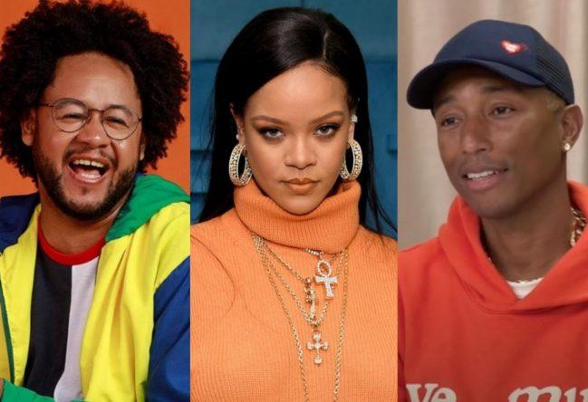 Emicida, Rihanna e Pharrell estão na lista (Divulgação/ Getty Images/ Reprodução)