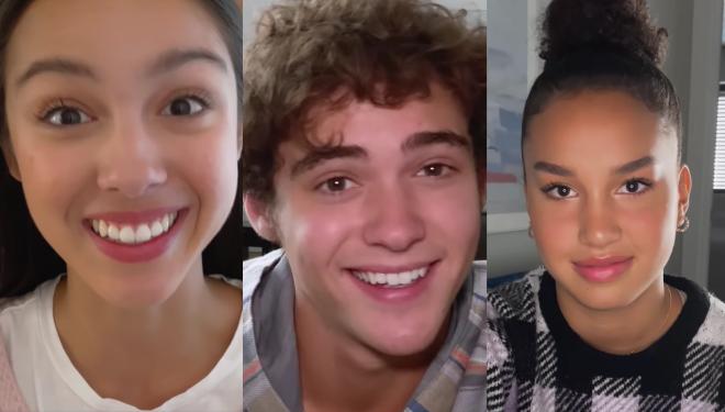 Olivia Rodrigo, Joshua Bassett, Sofia Wylie e outros participaram da vídeochamada (Reprodução / Twitter)
