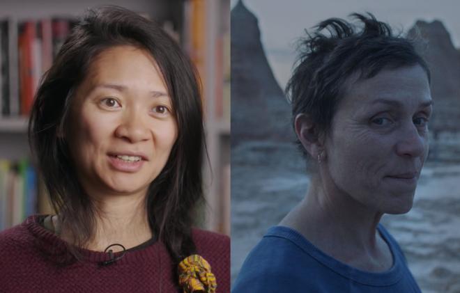 """Zhao foi premiada pela direção em """"Nomadland"""" (Reprodução / Youtube; Searchlight Pictures / Divulgação)"""