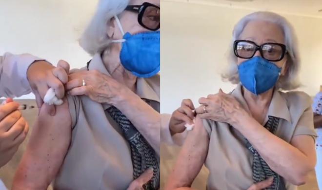 Aos 91 anos, a atriz está completamente imunizada contra o vírus (Reprodução / Instagram)