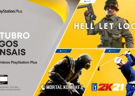 """PS Plus de outubro terá """"Mortal Kombat X"""", """"Hell Let Loose"""" e """"PGA Tour 2K21"""""""